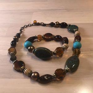 EUC Ladies Stone Necklace & Bracelet set